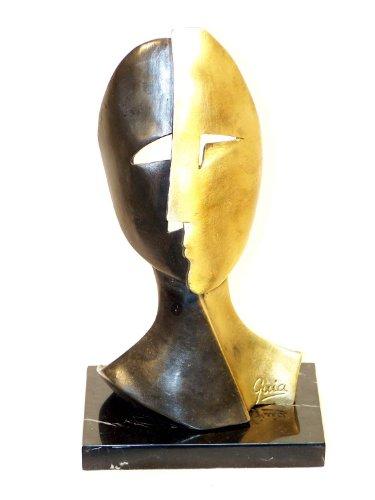 Modern Art Bronzefigur - Kunstmaske auf Marmor - signiert - Miguel Guia Skulptur - 100% Bronze - Moderne Kunst kaufen