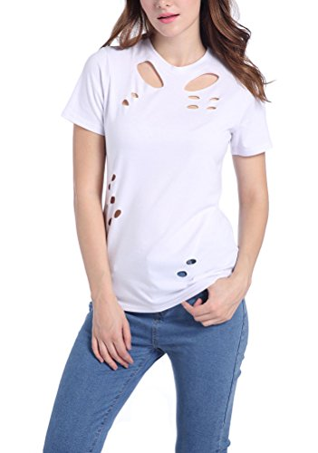 Ghope Damen Frauen Mode Rundkragen Kurzarm Löcher Hohl loose Beiläufige Blusen Oberteile Kurzshirt Top tops T-shirt Weiß