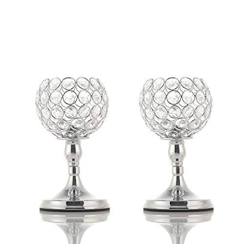 VINCIGANT Weihnachten Silber Crystal Bowl Kerzenhalter Sets für Esszimmer dekorative Mittelstücke, Haus Dekor Geschenke