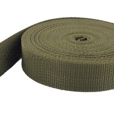 10m PP Gurtband – 25mm breit – 1,4mm stark – khaki (UV)