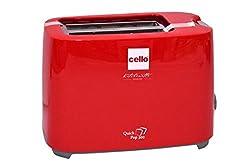 Cello 2 Slice Auto 700-Watt Pop-up Toaster (Red)
