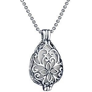 Yumilok Hohle Tropfenform Herz Medaillon Nachtleuchtend Anhänger Halskette Legierung Amulett Kettenänhanger für Damen Mädchen, Blaues Licht