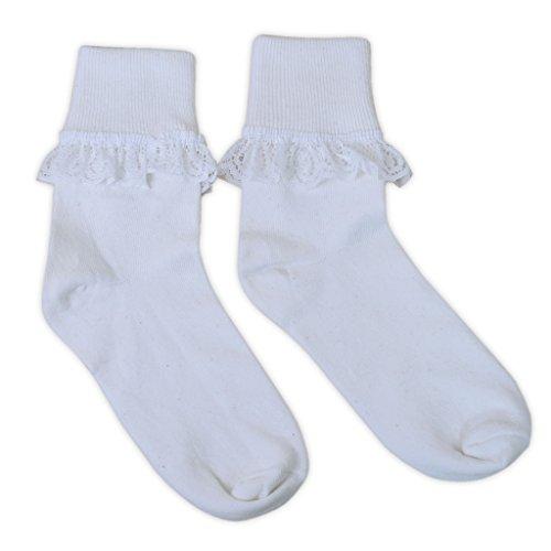 adam & eesa 1 Paar niedliche Socken mit Rüschen für Mädchen und Frauen in verschiedenen Farben und Größen erhältlich (Kurze Adams)