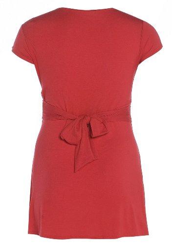 neuen Frauen plus Größe Kappenhülse Twist Taille Knoten zu binden zurück Abendkleid Red