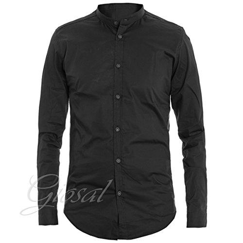Giosal camicia uomo mod collo coreano righe tinta unita nera slim c1315a-s