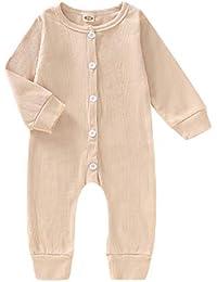 MEIbax Otoño e Invierno Moda Color Sólido El Botón Mameluco bebé niño Niñas Bebés Mono Manga Larga Camisa de Punto Tops Pantalones Ropa Conjuntos