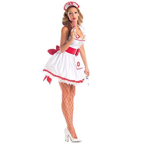 loveorama.de Damen Frauen Cosplay Sexy Krankenschwester Kostüm Set Lolita Maid Kostuem Krankenschwesterhut Spritzen Rot-weiss für Fasching, Karneval, Halloween