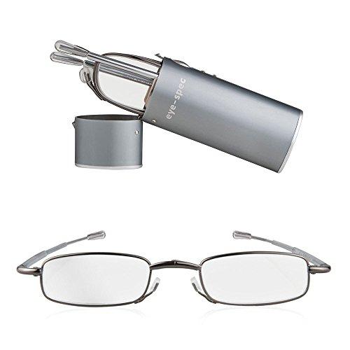 Faltbare Lesebrille, lässt sich zusammenklappen und im mitgelieferten Hartschalen-Taschenetui in Graphit transportieren. Ultraleicht und in 9 Sehstärken verfügbar   eye-spy Qualitäts-Faltbrillen von eye-spec