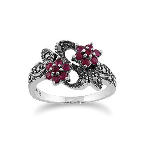 Gemondo Jugendstil Ring, 925 Sterlingsilber 0.58ct ct Rubin & Markasit Blume Ring