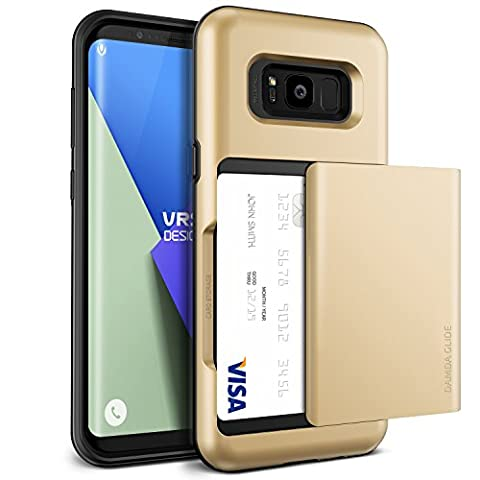 Galaxy S8 Plus Case, VRS Design® [Shine Gold] Shockproof Sliding Wallet Cover with 2 Card Slot [Damda Glide] Military Grade Protection Premium TPU Layered Phone Case for Samsung Galaxy S8 Plus