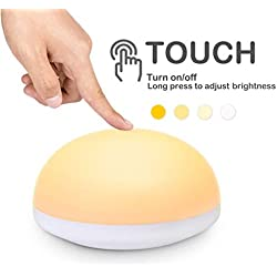 Luz Nocturna LED Iseebiz,Lámpara de Mesilla de Noche Lámparas Habitación Bebé Recargable Resistente a Caída Portátil USB Recargable