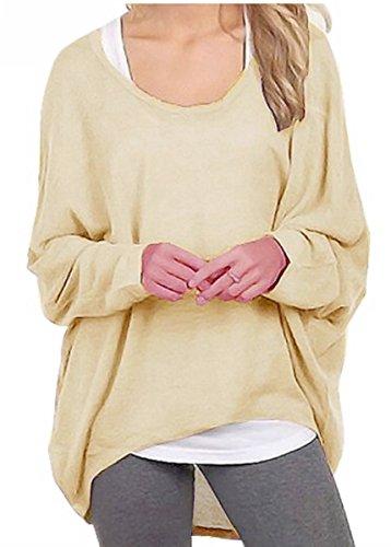 Meyison Damen Lose Asymmetrisch Sweatshirt Pullover Bluse Oberteile Oversized Tops T-shirt Aprikose-M