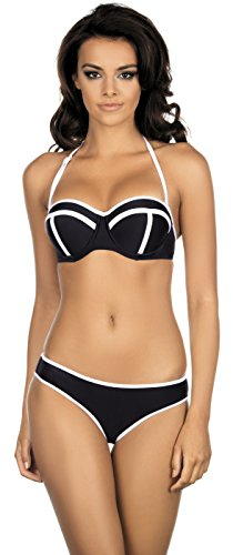 Lorin Damen Bügel Bikini Set L2083/6 (Schwarz/Weiß (Muster-v1), Cup 80 C / Unterteil 40) (Wattierter Bügel-bikini)