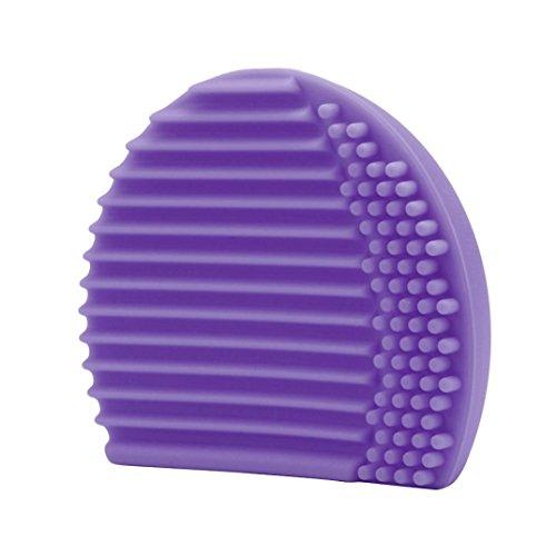 BZLine® Brosse Nettoyante Pinceau en Silicone & Outil de Nettoyage avec trou de Séchage pour les Pinceaux de maquillage, Violet