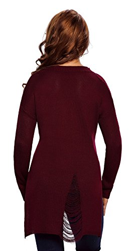 Y-BOA Tricot Sweat Femme Moulant Pull Casual Hiver Chaud Sport Rouge
