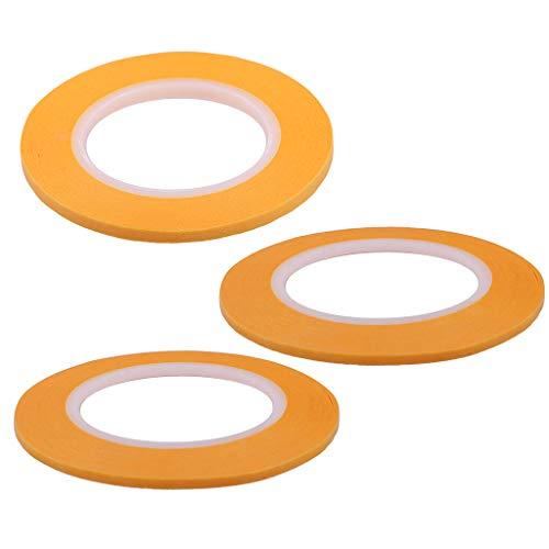 KESOTO 3pcs/Set 2mm 3mm 4mm Maskierungsband Abdeckband Abdeckfolie Papierband Bände -