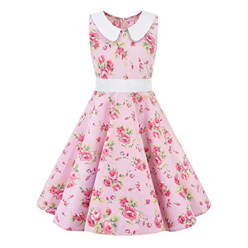Livoral Baby Madchen Kleidung Set Kinder Teen Kinder Mädchen Vintage 1950er Jahre Retro ärmellose Blumendruck lässige Kleidung(Rosa,Large)