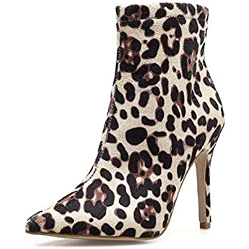 e035a6d9475f0 Leopard Print Ankle Bootie Women Sexy Pointed Toe 10.5cm Stiletto Martin  Boot OL Court Shoes Eu Size 34-40