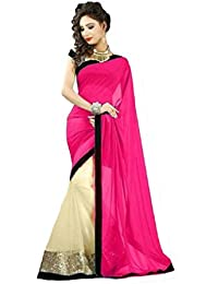 TRYme Fashion Women's Georgette Saree With Blouse Piece (514 _Pink_Free Size)