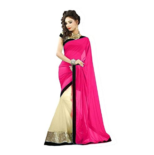 Gehna Women's Georgette Saree With Blouse Piece (One Minute Saree 153_Pink)