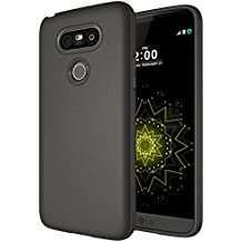 Coque LG G5 - Série Complète Mat Diztronic - Mince et souple étui de téléphone - Plein Mat Gris Anthracite