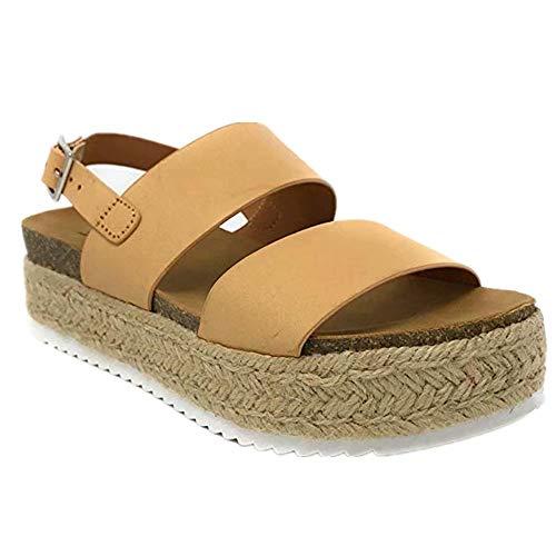 Sandalen Damen Plateau Espadrille Sommer Keilabsatz Leder 5 cm Absatz Sandaletten Peep Toe Flach Sommerschuhe Bequeme Beige 36 Leder Open-toe Wedges