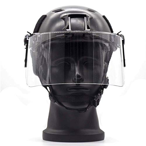 WLXW Softair Fast PJ Tactical Helm mit klarem Visier NVG Mount und Seitenschiene Paintball explosionssicher Jagdhelm CS Field Outdoor Equipment, Schwarz, L(56/66CM)
