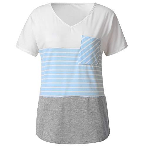 Damenmode Gestreift Einfarbig Nähte Tasche Kurzarm-Shirt Damen Sommer T-Shirt Casual Streifen Patchwork Kurzarm Oberteil Tops Bluse Shirt Sommer Farblich passendes Rundhals Kurzarmhemd - Jeans Dollar Unter 10 Süße
