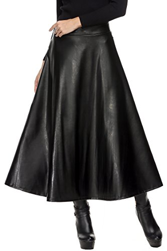 Zeagoo Women Faux Leather High Waist Elegant Midi Maxi Long Skirts
