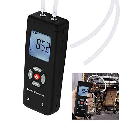 Tragbares digitales Handmanometer HVAC Luftvakuum/Gas Differenzdruckmesser Meter Tester 11 Einheiten mit Hintergrundbeleuchtung 13,78 kPa 2 PSI 1-2 Rohre Belüftung Klimaanlage System Messung
