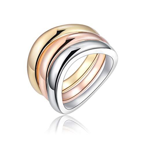WANZIJING 3 Stück Mode Ring, Unisex-Verlobungsringe Tricolor Bunte Reihe von Bands Plain Dome poliert Fingerring für Jubiläum Schmuck Geschenk,6 (Saphir-diamant-jubiläum-band)