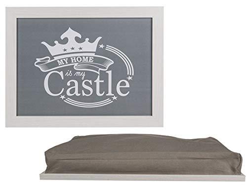 MC Trend Knietablett Kissentablett mit Kissen perfekt für Kinder Auto Reise Laptop Bett Couch (Castle)