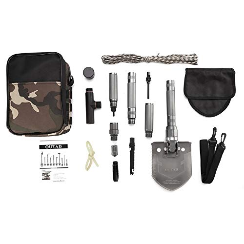Knossos outad portable multifunctional foldable shovel tool kit for outdoor camping - grey-black