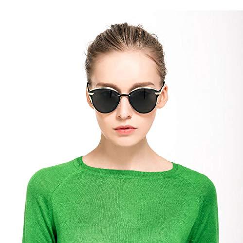 Leluo Mädchen Mode polarisierten Sonnenbrillen gespiegelt polarisierten Brillen großen Rahmen Sonnenbrillen Damenbrillen (Color : Black)