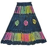 Mogul Interior Womens Long Skirt Vintage Blue Tie Dye Bohemian Gypsy Festive Skirts L