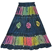 Mogul Interior Womens Long Skirt Vintage Blue Tie Dye Bohemian Gypsy Festive Skirts L