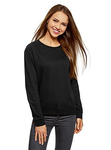 oodji Ultra Damen Baumwoll-Sweatshirt (2er-Pack), Schwarz, DE 38 / EU 40 / M (2 Schwarz Sweatshirt)