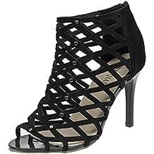 Sandalias de mujer Zapatos de tacón alto Peep Toe de moda para mujer Sandalias romanas de Gladiador Rivet Tacones de correa de tobillo Sandalias Chunky de tacones altos LMMVP