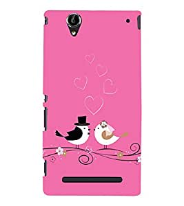 Fabcase Love of birds on pink case Designer Back Case Cover for Sony Xperia T2 Ultra :: Sony Xperia T2 Ultra Dual SIM D5322 :: Sony Xperia T2 Ultra XM50h