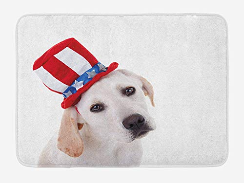 VTXWL 4th of July Bath Mat, Cute White Dog with a Uncle Sam Hat Independence Day Celebration, Plush Bathroom Decor Mat with Non Slip Backing, 23.6 W X 15.7 W Inches, Multicolor (Lime Liner Cupcake Green)