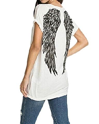 BienBien Women Summer Short Sleeve T shirt Sexy Back Angel Wing Printed Loose Casual Blouse Tops