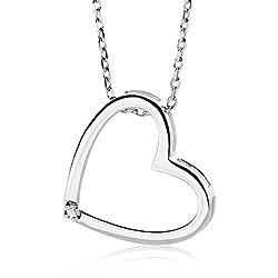 Miore - Collier avec Pendentif Femme - Coeur - Or blanc 375/1000 (9 carats) 1.73 gr - Diamant 0.01 cts