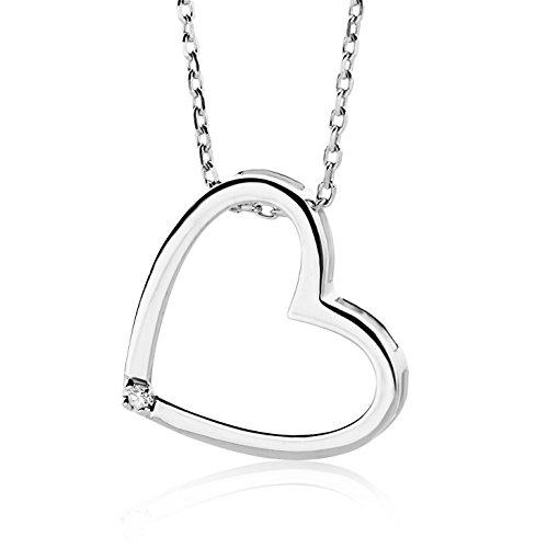 Miore Damen-Halskette mit Herz-Anhänger – Elegante Kette aus 9 kt. Weißgold mit 0,01 ct. Diamant – Halsschmuck 45 cm lang, Silber