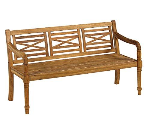 Dehner Gartenbank Canterbury, 3-Sitzer, ca. 144 x 60 x 90 cm, FSC Akazienholz, geölt, Natur