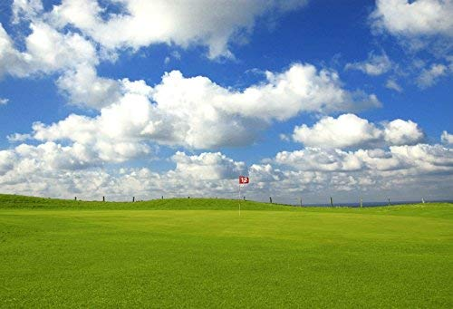 vrupi Green Golf Course Land Background 7x5ft Sports Balls Flag Green Field Blue Sky White Cloud Nature Spring Outdoor Match Backdrops for Photography Children Adults Studio Props -