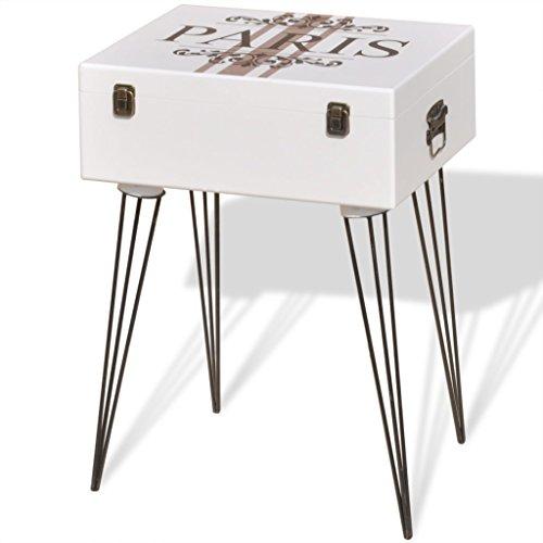 Festnight Mesita Auxiliar Vintage Decorativa Blanca 40x30x57 cm