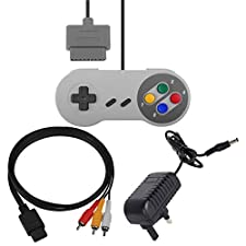 3rd Party Replacement Super Nintendo SNES Accessory Bundle, Power/AV & Controller
