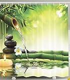 Beddinger Imperméable à l'eau et à la moisissure 3D imprimé Bambou vert et rideau...