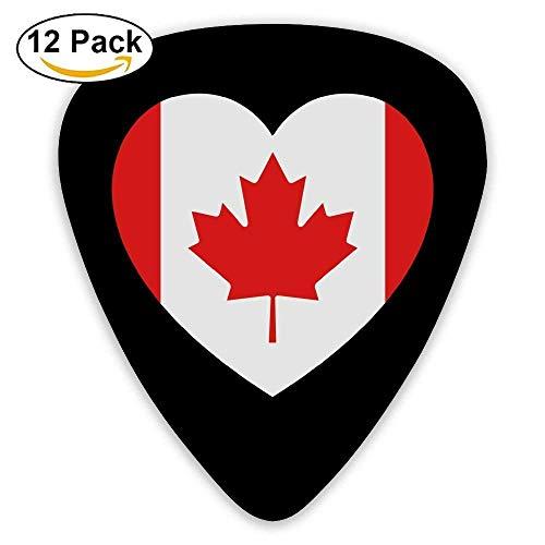 Celluloid Gitarrenplektren/Bassgitarrenplektren, Aufdruck Kanada Herz, 12 Stück