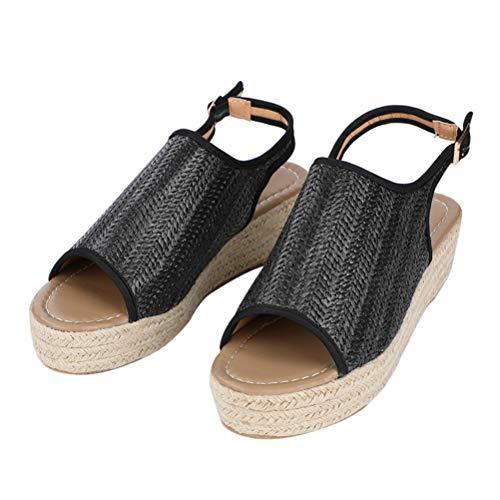 Frauen Sommer Stroh Strand Sandalen Schnalle Plattform Keil Chunky High Heels Back Strap Peep Toe Freizeitschuhe - Lifestride Peep Toe Pumps